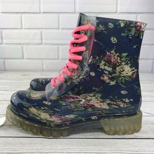 Shoes - Clear Floral Lace Up Rain Boots 9